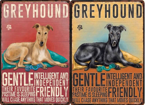 Greyhound Traits Metal Sign