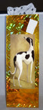 Gold Holographic Foil Bottle Gift Bag w Pawprint Tissue - Cowdog Greyhound