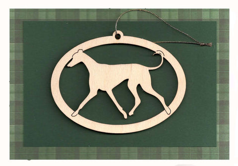 "Greyhound Christmas Card with Removable Keepsake Ornament ""Trotting"""
