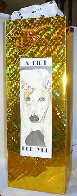 Gold Holographic Foil Bottle Gift Bag w Pawprint Tissue - A Gift for You