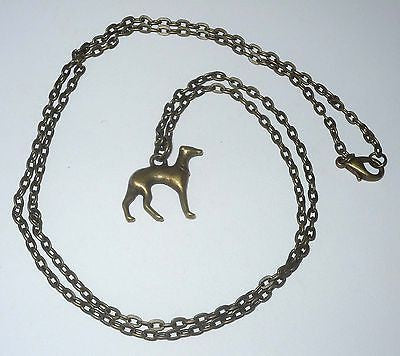 3D Bronze Greyhound Charm Necklace Whippet IG