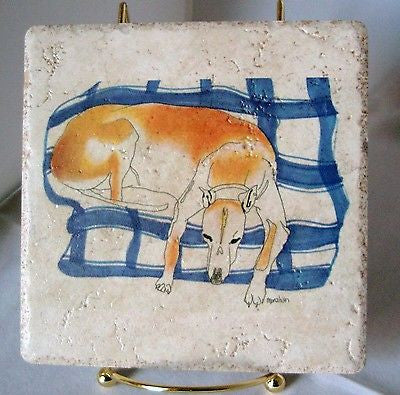 Couch Potato Greyhound Dog Stone Trivet w/Display Stand
