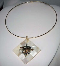 Load image into Gallery viewer, Choker w MOP Mosaic Pendant +GP Sprinting Greyhound Dog
