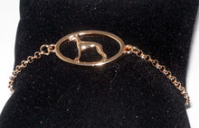 Load image into Gallery viewer, Rose Gold Plated Bracelet with Whippet or Greyhound Dog