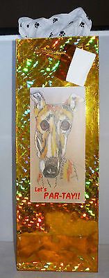 Gold Holographic Foil Bottle Gift Bag w Pawprint Tissue -