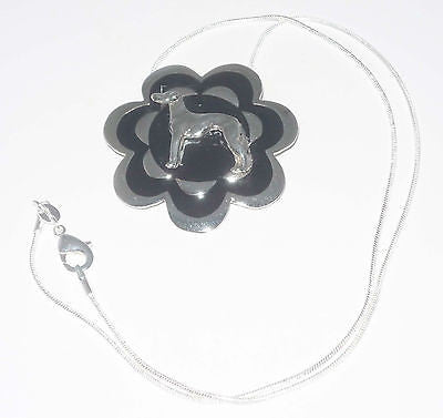 Silv+Black Flower Pendant w SP Standing Greyhound or Whippet Dog, SP Necklace
