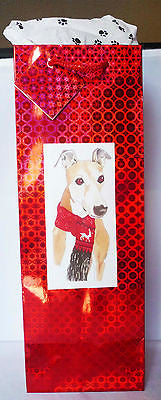 Red Holographic Foil Bottle Gift Bag w Pawprint Tissue - Reindeer Scarf