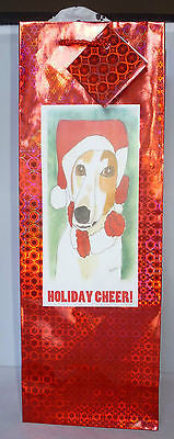 Red Holographic Foil Bottle Gift Bag w Pawprint Tissue - Holiday Cheer