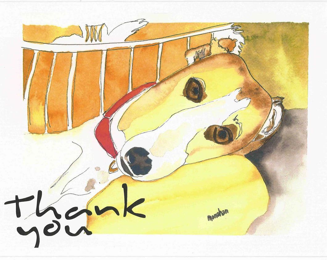 Sue Monahan Dog Art Thank You Cards Set of 4 w/envs