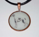 Altered Art Pencil Sketch Greyhound Dog Pendant Necklace <Choose> Silver or Copper