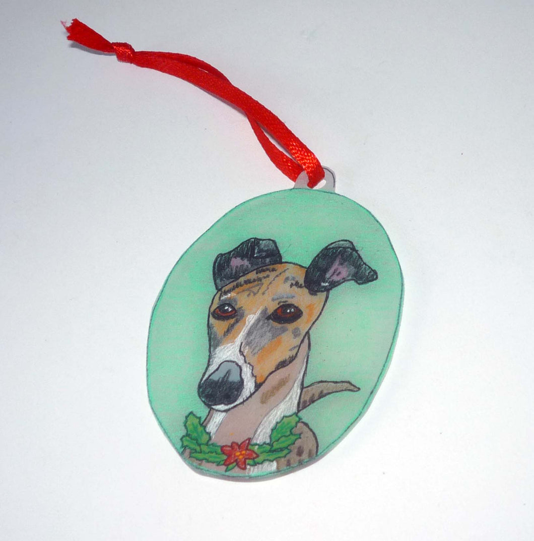 Hand Painted Brindle and White Greyhound Dog Ornament
