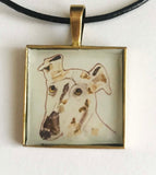 Abstract Collage Greyhound Dog Pendant with Genuine Leather Necklace