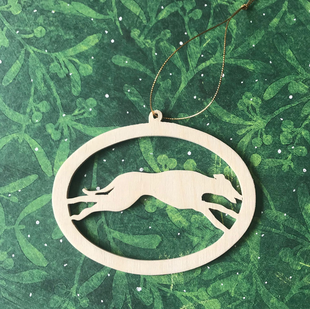 Wood Cutout Greyhound Ornament
