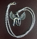 Pewter Winged Greyhound or Whippet Angel Pendant Memory Necklace