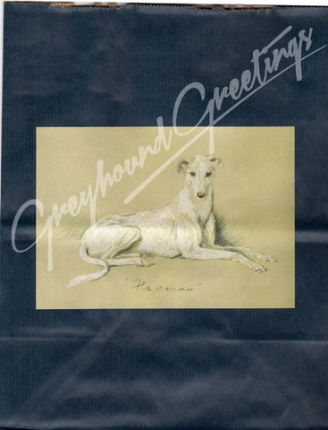 Vintage Pencil Sketch Greyhound or Whippet Dog on Navy or Plum Gift Wrap Bag Set w Card
