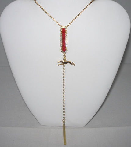 Trending Y Necklace w Gold Plated Greyhound Dog, Red Coral Bar, Crystals