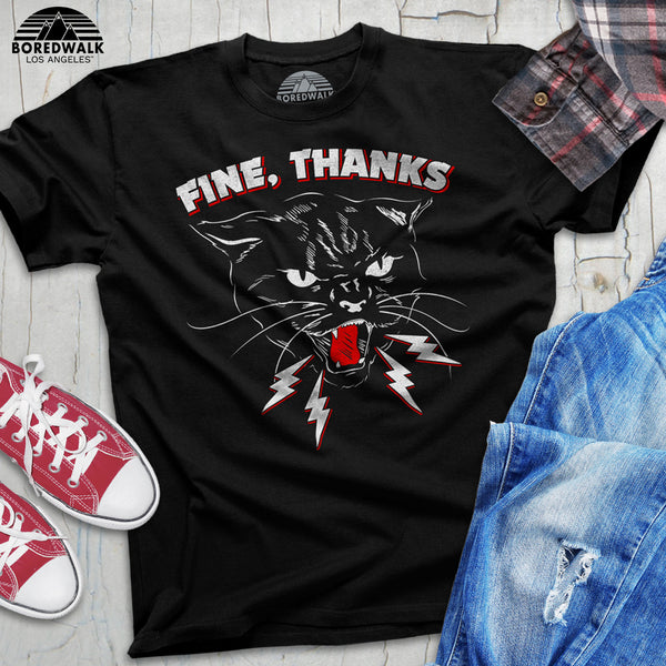 Boredwalk Fine Thanks Black Cat Shirt