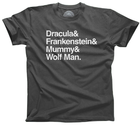 Dracula and Frankenstein and Mummy and Wolf Man Horror Shirt