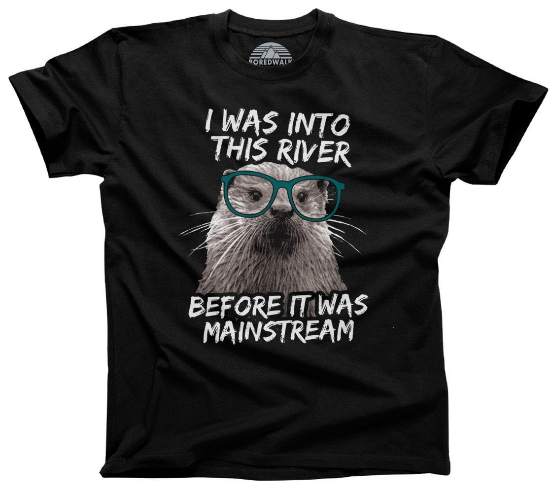 Men's Funny Hipster Otter T-Shirt Kayaking Rafting Fishing