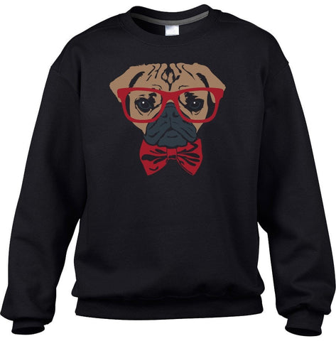 Unisex Bowtie And Glasses On A Pug Sweatshirt Hipster Pug Sweatshirt