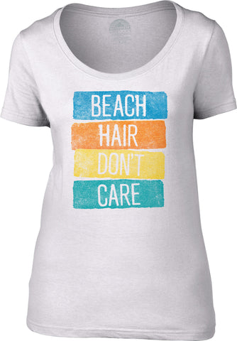 Women's Beach Hair Don't Care Scoop Neck Shirt Summer Vacation