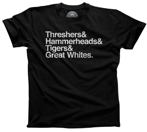 Men's Threshers And Hammerheads And Tigers And Great Whites Shark T-Shirt