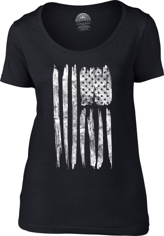 Women's Us Flag Scoop Neck Shirt