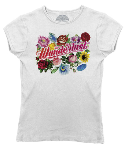 Women's Wanderlust T-Shirt - Juniors Fit - Boho Chic Floral Festival Travel