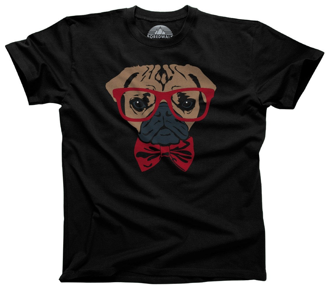 Men's Bowtie And Glasses On A Pug T-Shirt Hipster Pug T-Shirt