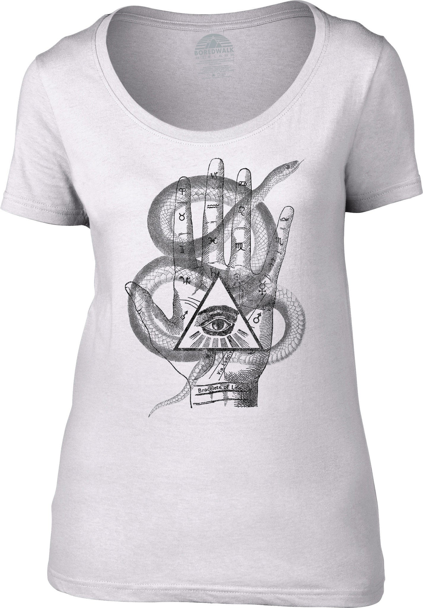 Women's Palmistry Gypsy Collage Scoop Neck Shirt