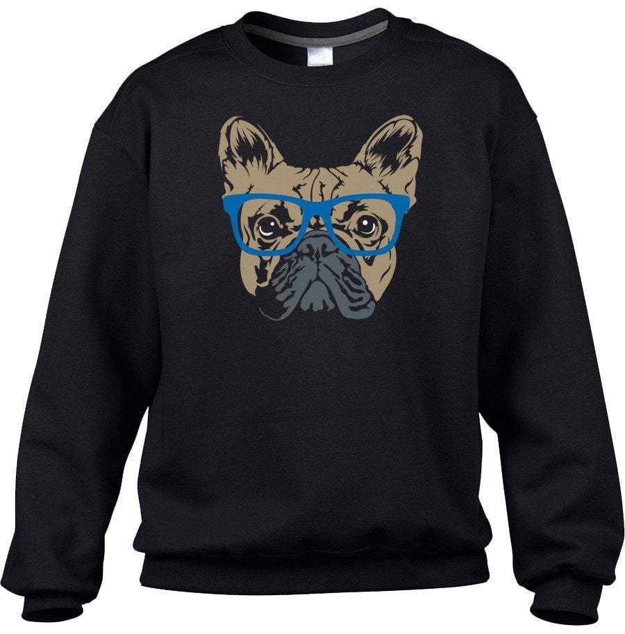 Unisex Glasses On A French Bulldog Sweatshirt