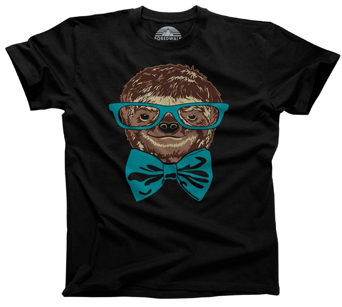 Men's Glasses and Bowtie on a Sloth T-Shirt Hipster Sloth