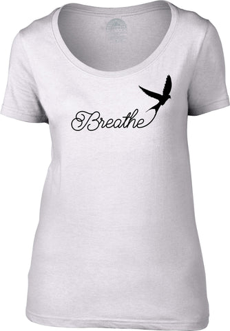 Women's Breathe Scoop Neck Shirt Minimalist Bird