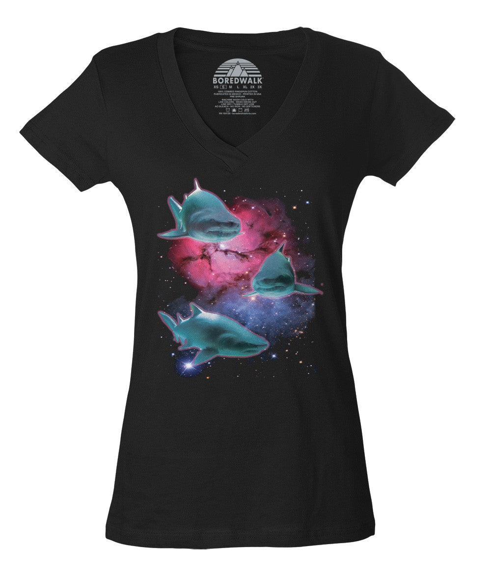 Women's Sharks In Space Vneck T-Shirt