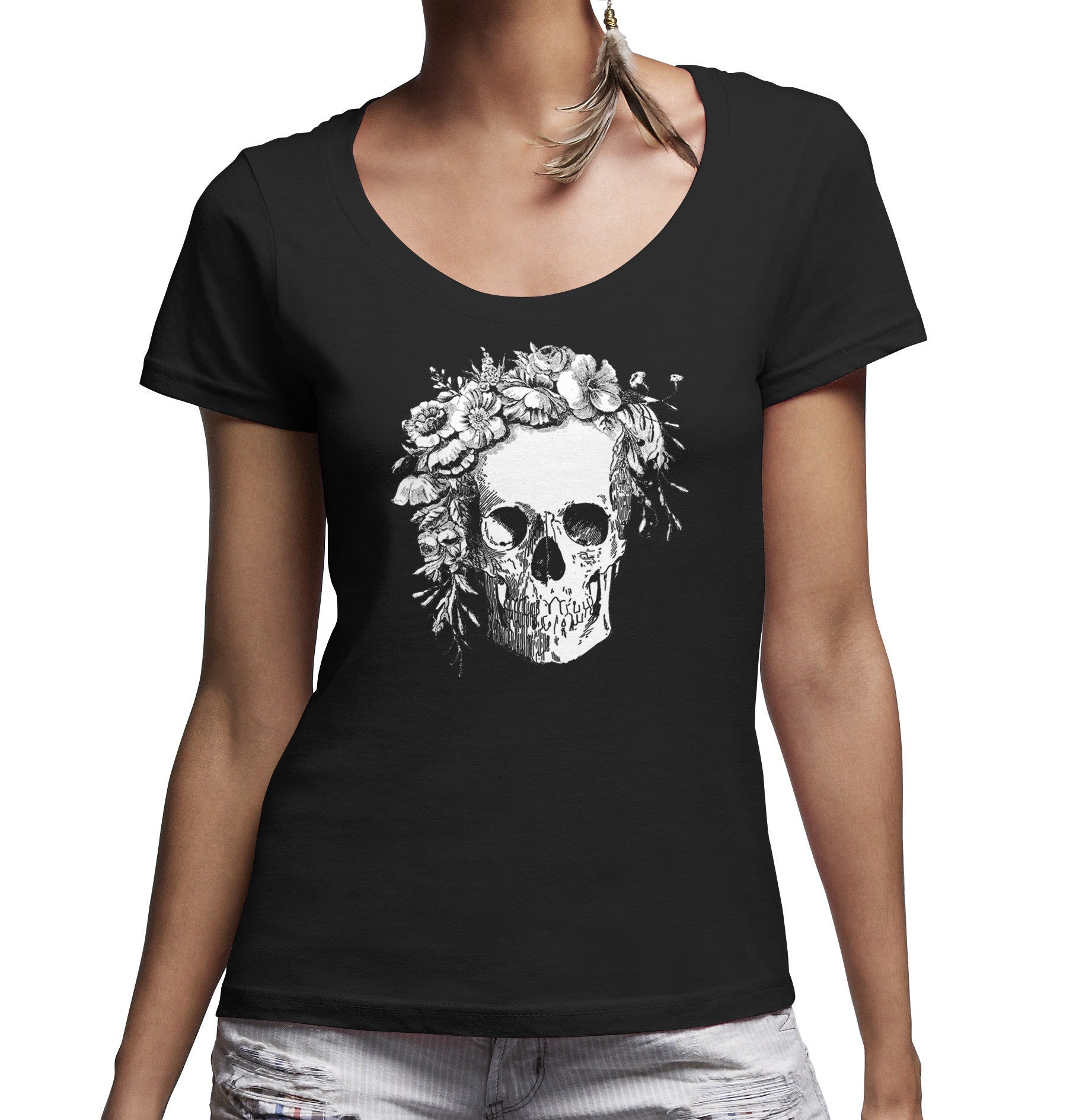 Women's Floral Skull Scoop Neck Shirt