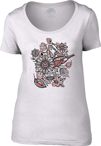 Women's Birds and Flowers Scoop Neck Shirt