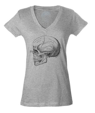 Women's Skull Anatomy Diagram Vneck T-Shirt