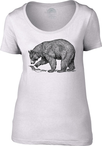 Women's Bear Scoop Neck Shirt Vintage Illustration