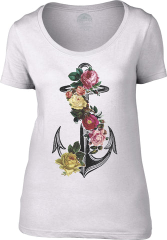 Women's Floral Anchor Scoop Neck Shirt Tattoo Vintage Nautical Feminine T-Shirt