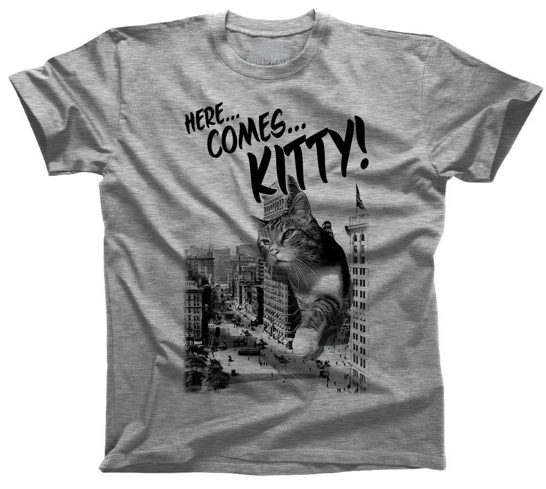 Men's Here Comes Kitty T-Shirt Funny Giant Cat TShirt