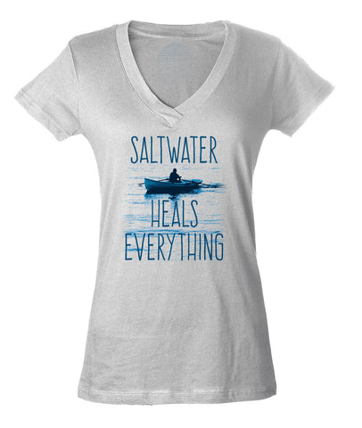 Women's Saltwater Heals Everything Vneck T-Shirt Ocean Shirt