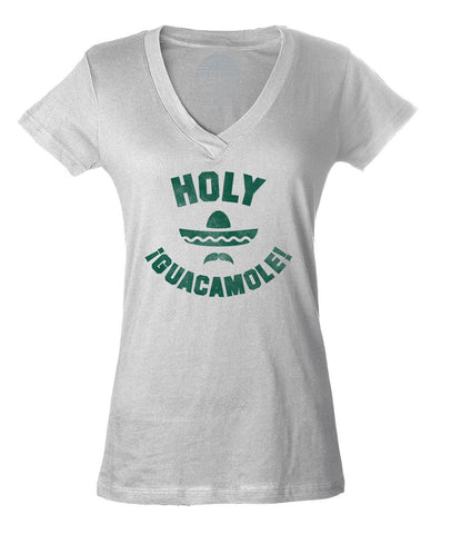 Women's Holy Guacamole Vneck T-Shirt Funny Hipster Foodie