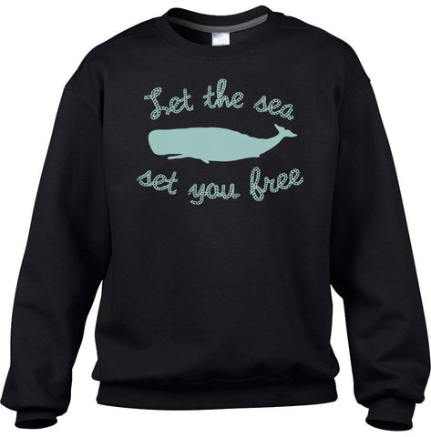 Unisex Let The Sea Set You Free Sweatshirt Whale Sweatshirt