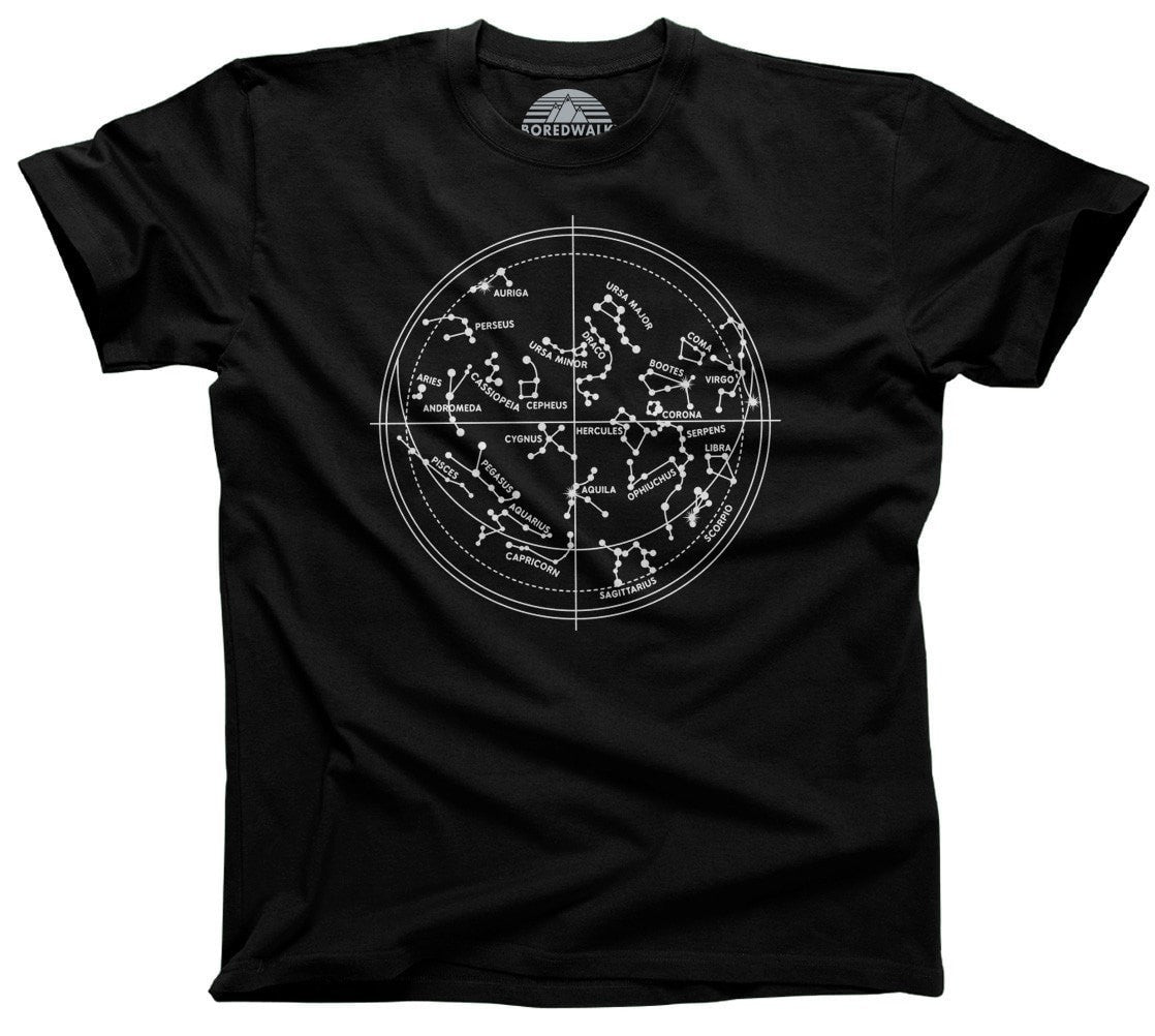 Men's Constellation Map T-Shirt Astronomy T-Shirt Constellation Chart