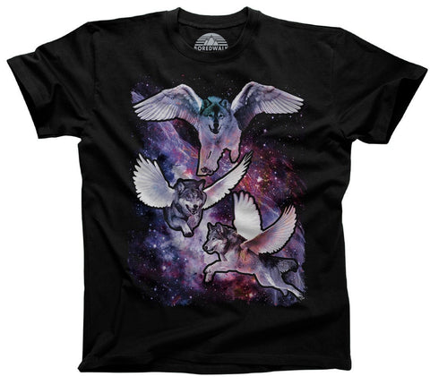Men's Wolves With Wings in Space T-Shirt