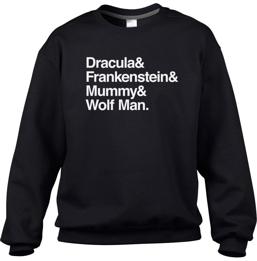 Unisex Dracula and Frankenstein and Mummy and Wolf Man Sweatshirt