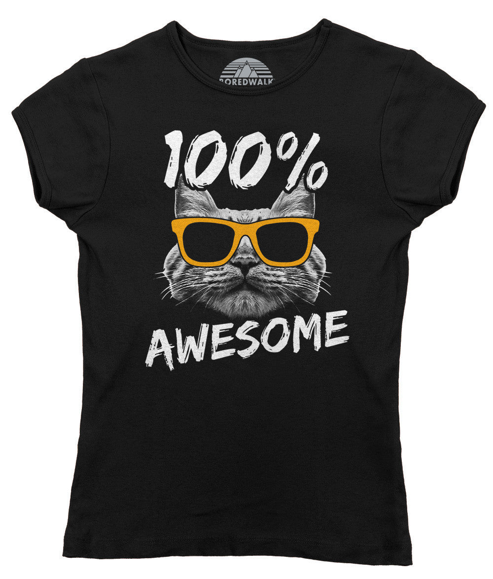100Awesome Cat Shirt T T Women's Cat 100Awesome Cat Shirt Women's T 100Awesome Women's YbgI7y6vf