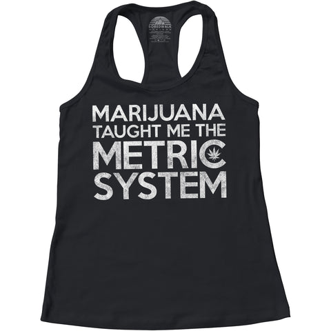 Women's Marijuana Taught Me The Metric System Racerback Tank Top