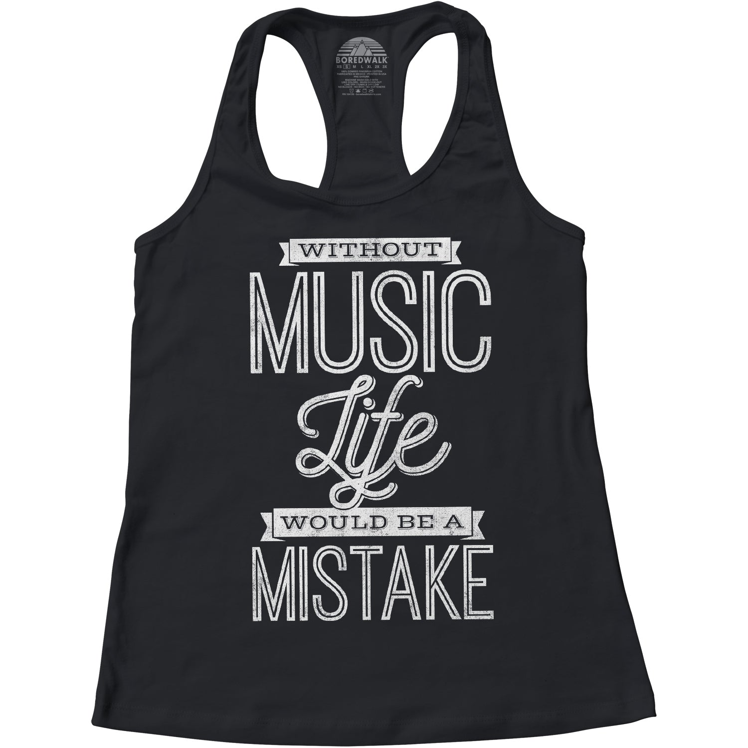 Women's Without Music Life Would be a Mistake Racerback Tank Top