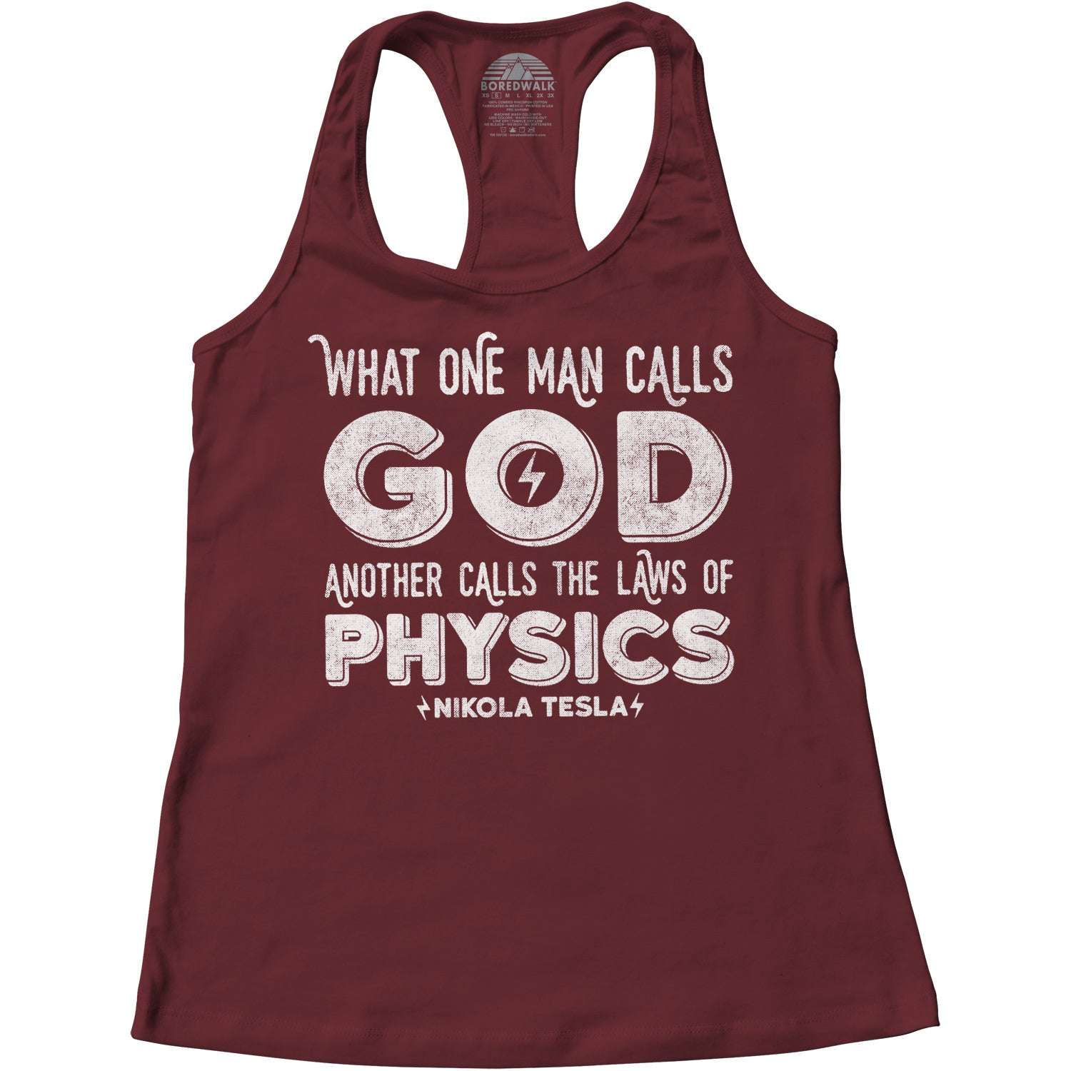 Women's What One Man Calls God Another Calls Physics Racerback Tank Top